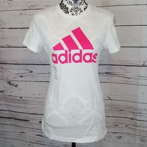 NWT Adidas White and Pink Tee
